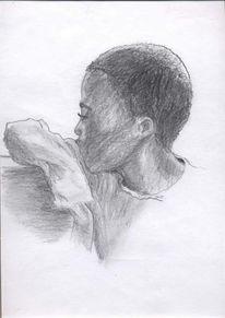 Portrait, Kind, Arm, Zeichnung