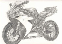 Yamaha, Zeichnung, Motorrad, Skizze