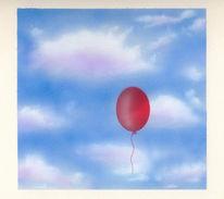 Malerei, Pinsel, Luftballon, Wolken