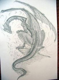 Skizze, Tattoo, Zeichnung, Drache