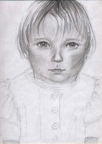 Zeichnung, Portrait, Mädchen, Kind