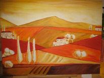 Landschaft, Bunt, Toskana, Malerei