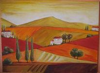 Landschaft, Bunt, Malerei, Toskana