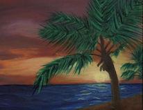 Meer, Sonnenuntergang, Landschaft, Malerei