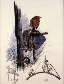 Vogel, Rotkehlchen, Malerei, Schloss