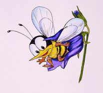 Grafik, Malerei, Süße, Biene