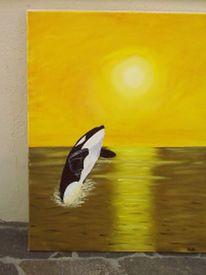 Landschaft, Malerei, Sonnenuntergang