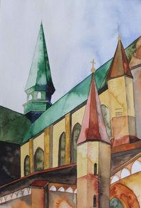 Rostock, Sinken, Kirche, Aquarellmalerei