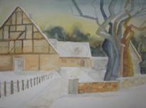 Winter, Aquarellmalerei, Fachwerk, Malerei