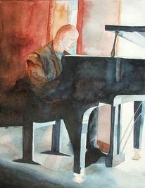 Klavier, Aquarellmalerei, Malerei, Jazz