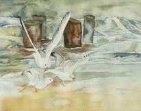 Ostsee, Aquarellmalerei, Möwe, Maritim