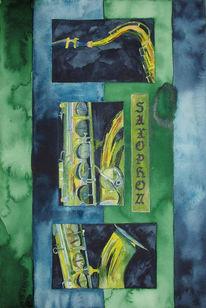 Aquarellmalerei, Malerei, Jazz, Saxofon