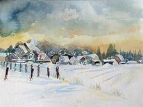 Winterlandschaft, Aquarellmalerei, Schnee, Schneewolken