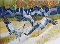 Herbst, Kranich, Aquarellmalerei, Aquarell