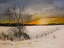 Aquarellmalerei, Winter, Landschaft, Winterabend