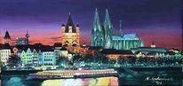 Malerei, Landschaft, Köln, Nacht