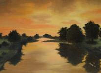 Malerei, Dämmerung, Landschaft, Flusslandschaft