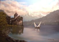 Wasser, Schloss, Boot, Malerei