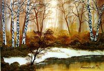 Wasser, Malerei, Schnee, Landschaft