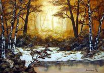 Landschaft, Wasser, Schnee, Baum