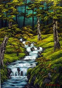 Wasser, Wiese, Stein, Wald
