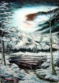 Baum, See, Malerei, Landschaft