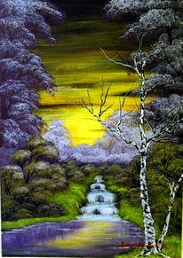 Sonnenuntergang, Wasser, Baum, Landschaft