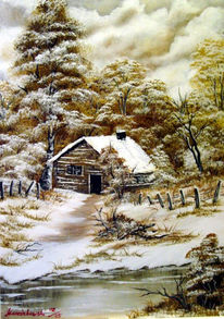 Hütte, See, Malerei, Landschaft