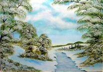 Schnee, Himmel, Baum, Malerei