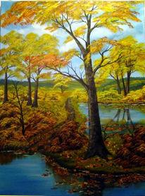 Malerei, Wasser, Landschaft, Baum