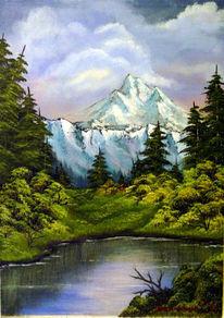 Landschaft, Baum, Berge, Malerei