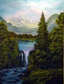 Himmel, Berge, Malerei, Wasser