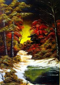 Landschaft, Malerei, Baum, Wasser