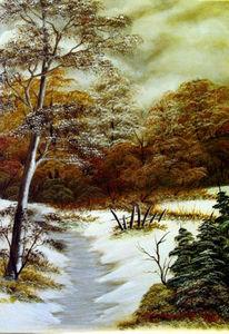 Schnee, Malerei, Wolken, Wald