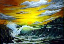 Sonnenuntergang, Landschaft, Wolken, Meer