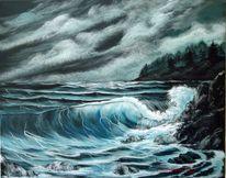 Welle, Strand, Himmel, Malerei
