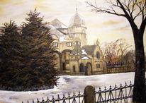Schloss, Landschaft, Verfall, Malerei