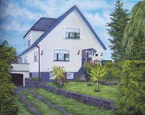 Malerei, Landschaft, Himmel, Haus