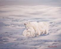 Landschaft, Schnee, Eis, Malerei