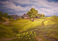Baum, Gras, Ölmalerei, Wolken