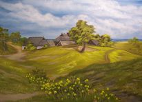 Wolken, Acrylmalerei, Landschaft, Baum
