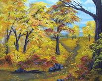 Malerei, Landschaft, Laub, Baum