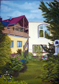 Malerei, Landschaft, Baum, Gebäude