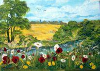Landschaft, Baum, Blumen, Himmel