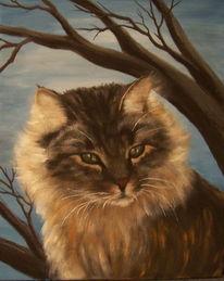 Katze, Malerei, Tiere, Baum