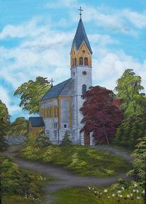 Landschaft, Kirche, Baum, Himmel