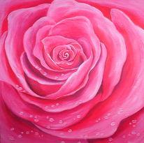 Rose, Malerei, Pflanzen, Tropfen