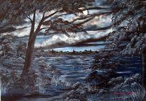 Malerei, Wolken, Landschaft, Baum