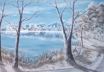 Weg, Winter, Malerei, Wasser