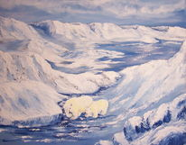 Landschaft, Eis, Malerei, Schnee